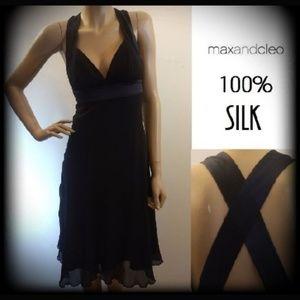 100% Silk Flowy Halter Empire Waist Cocktail Dress